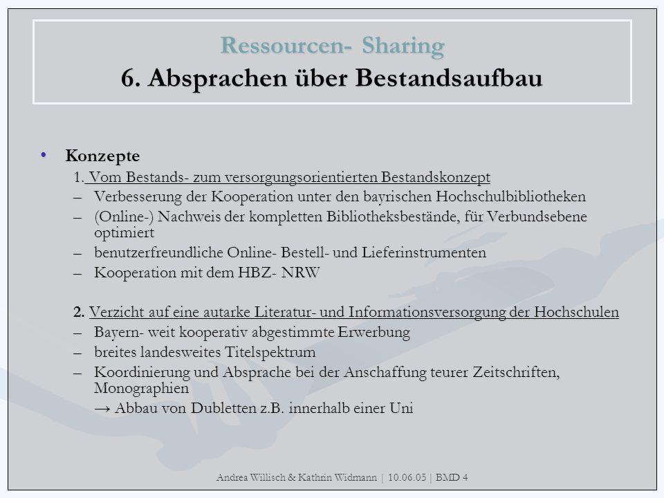 Andrea Willisch & Kathrin Widmann | 10.06.05 | BMD 4 Ressourcen- Sharing 6. Absprachen über Bestandsaufbau KonzepteKonzepte 1. Vom Bestands- zum verso