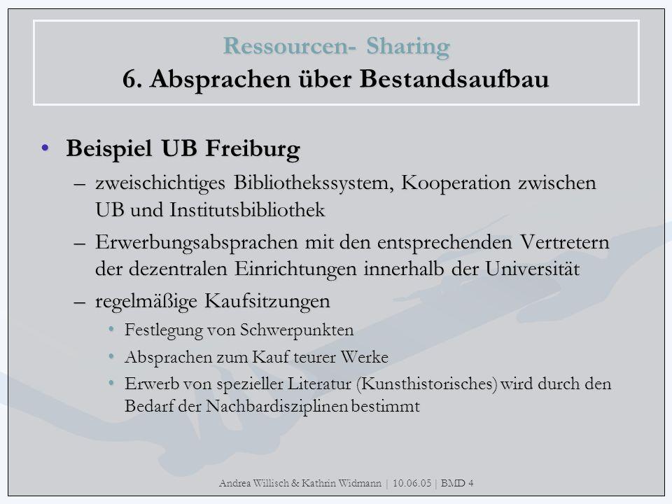 Andrea Willisch & Kathrin Widmann | 10.06.05 | BMD 4 Ressourcen- Sharing 6. Absprachen über Bestandsaufbau Beispiel UB FreiburgBeispiel UB Freiburg –z