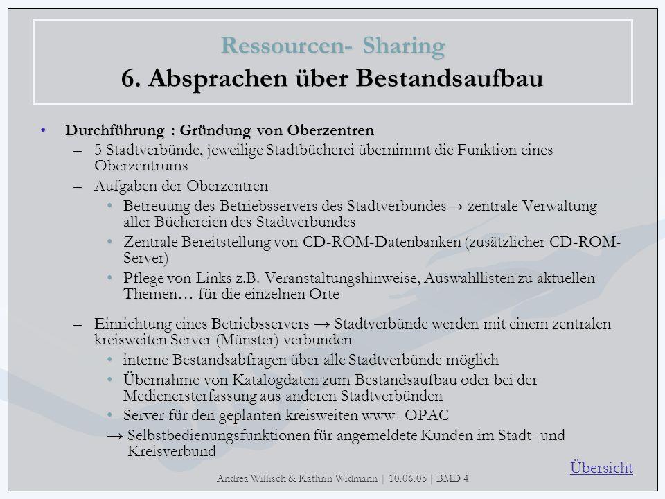 Andrea Willisch & Kathrin Widmann | 10.06.05 | BMD 4 Ressourcen- Sharing 6. Absprachen über Bestandsaufbau Durchführung : Gründung von OberzentrenDurc