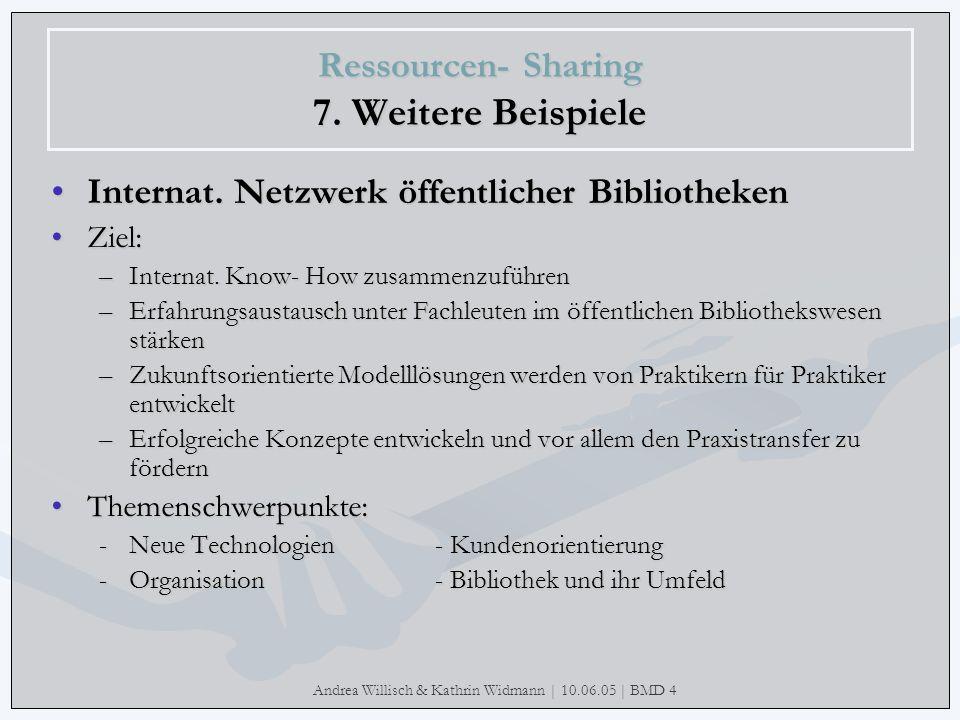 Andrea Willisch & Kathrin Widmann | 10.06.05 | BMD 4 Ressourcen- Sharing 7. Weitere Beispiele Internat. Netzwerk öffentlicher Bibliotheken Ziel: –Inte