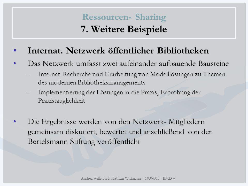 Andrea Willisch & Kathrin Widmann | 10.06.05 | BMD 4 Ressourcen- Sharing 7. Weitere Beispiele Internat. Netzwerk öffentlicher Bibliotheken Das Netzwer