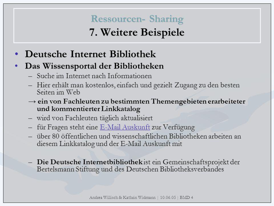 Andrea Willisch & Kathrin Widmann | 10.06.05 | BMD 4 Ressourcen- Sharing 7. Weitere Beispiele Deutsche Internet Bibliothek Das Wissensportal der Bibli