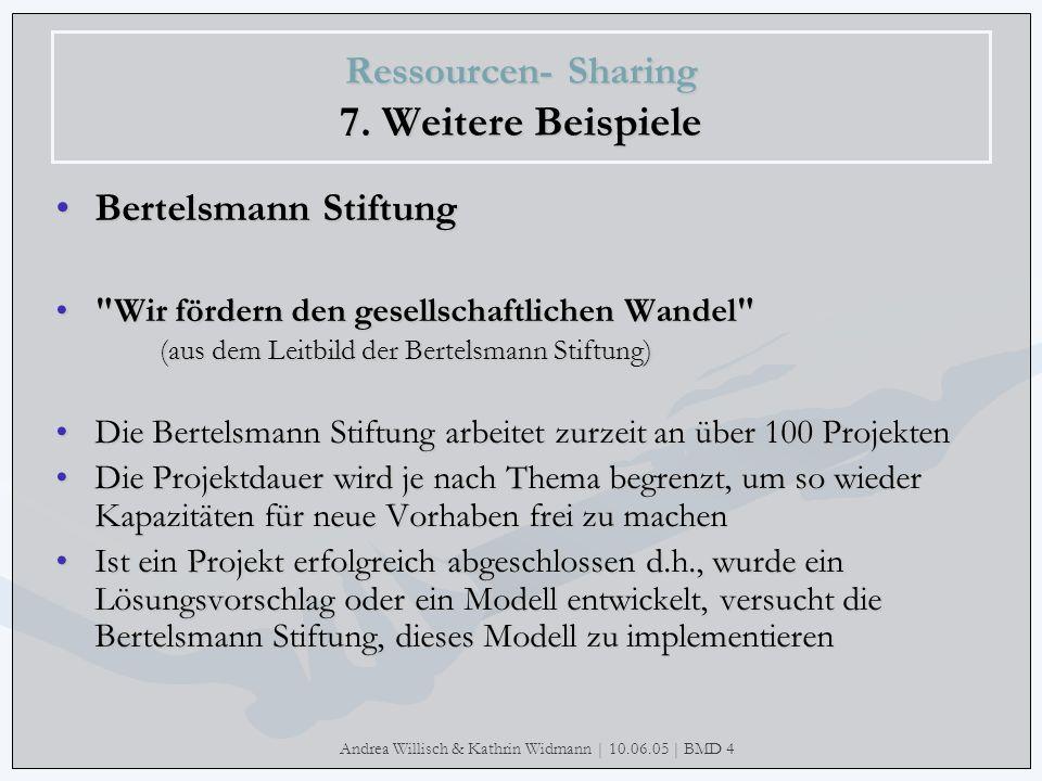 Andrea Willisch & Kathrin Widmann | 10.06.05 | BMD 4 Ressourcen- Sharing 7. Weitere Beispiele Bertelsmann Stiftung