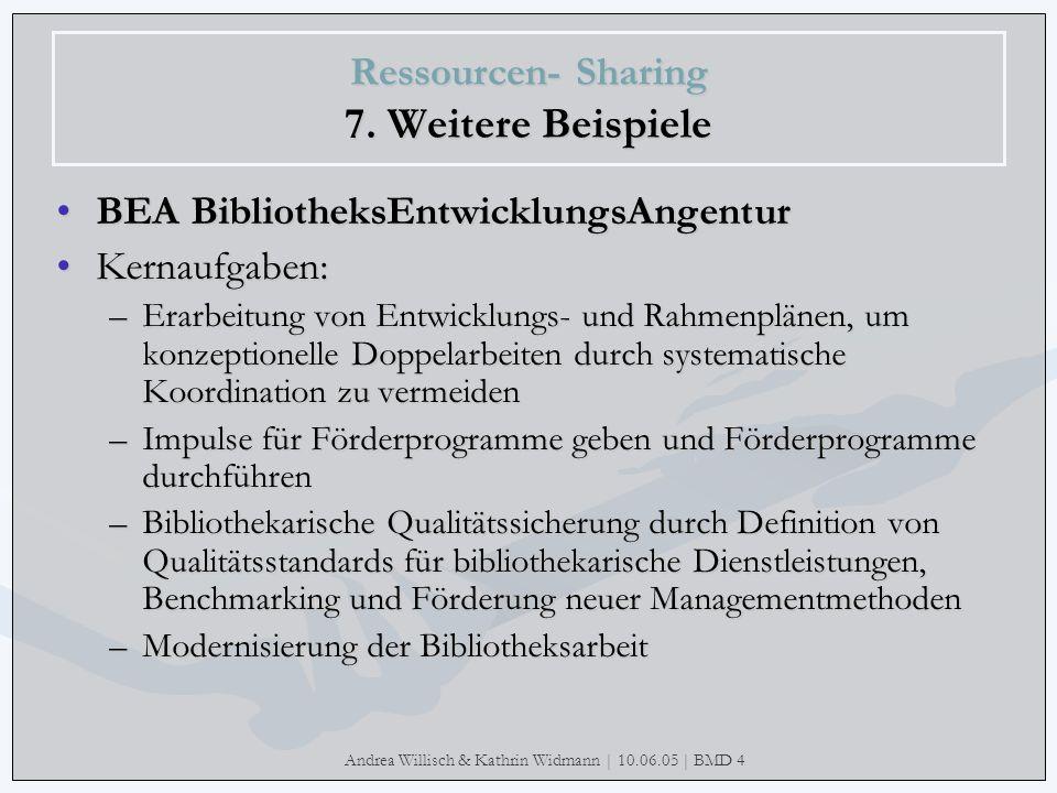 Andrea Willisch & Kathrin Widmann | 10.06.05 | BMD 4 Ressourcen- Sharing 7. Weitere Beispiele BEA BibliotheksEntwicklungsAngentur Kernaufgaben: –Erarb