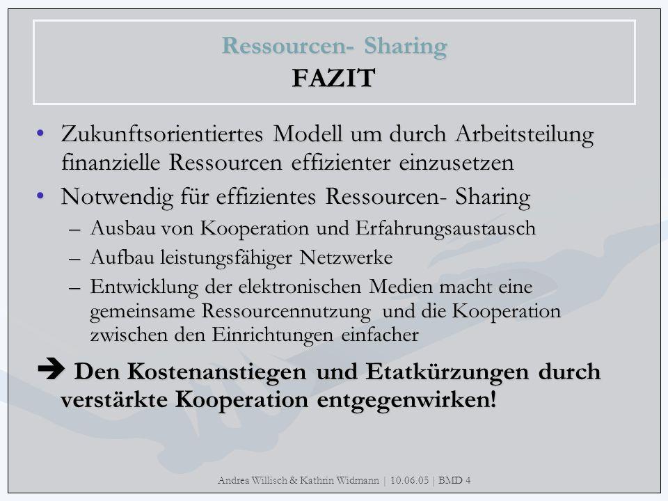Andrea Willisch & Kathrin Widmann | 10.06.05 | BMD 4 Ressourcen- Sharing FAZIT Zukunftsorientiertes Modell um durch Arbeitsteilung finanzielle Ressour