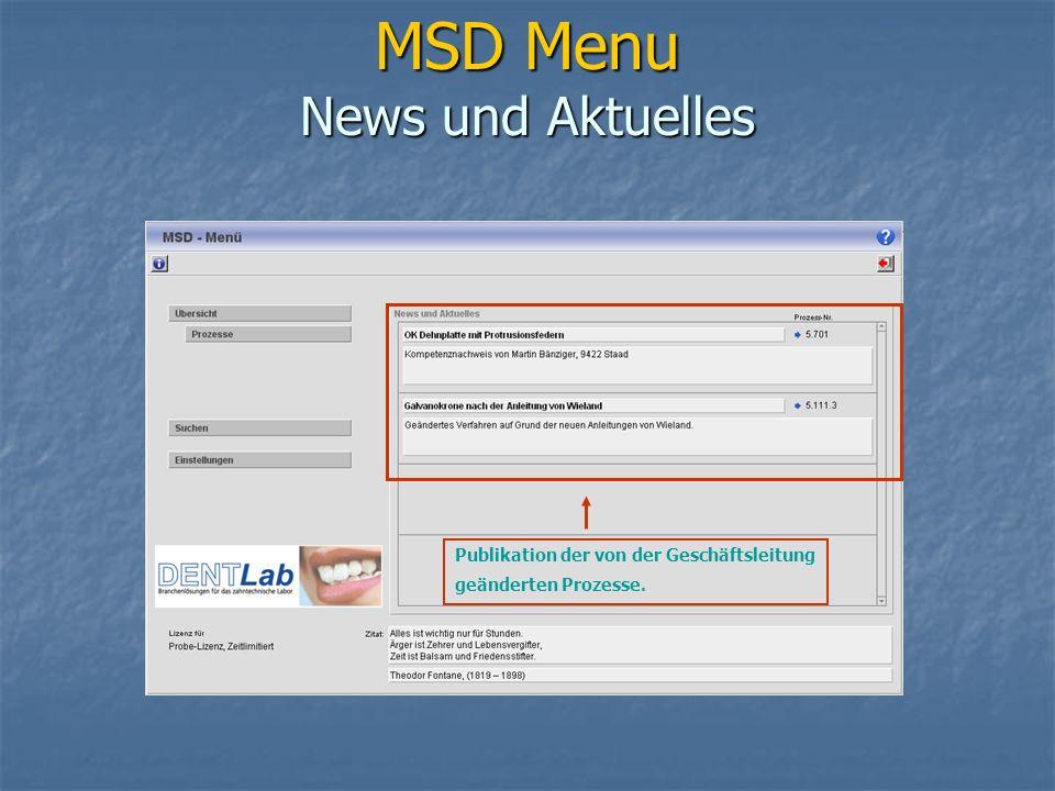 MSD Menu News und Aktuelles Publikation der von der Geschäftsleitung geänderten Prozesse.