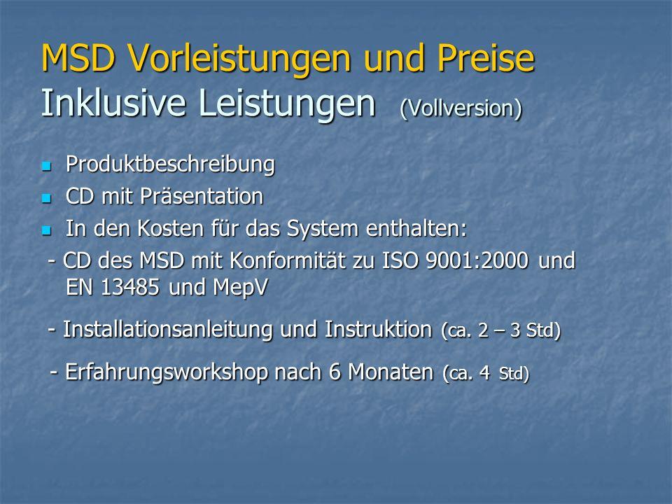 MSD Vorleistungen und Preise Inklusive Leistungen (Vollversion) Produktbeschreibung Produktbeschreibung CD mit Präsentation CD mit Präsentation In den