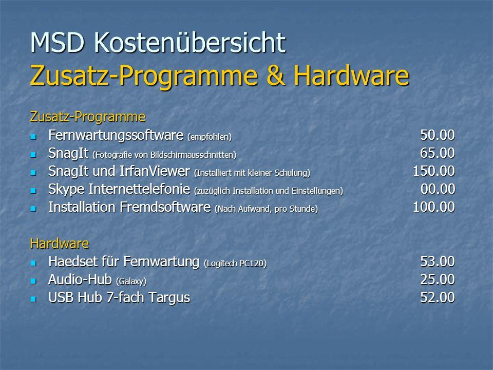 MSD Kostenübersicht Zusatz-Programme & Hardware Zusatz-Programme Fernwartungssoftware (empfohlen) 50.00 Fernwartungssoftware (empfohlen) 50.00 SnagIt