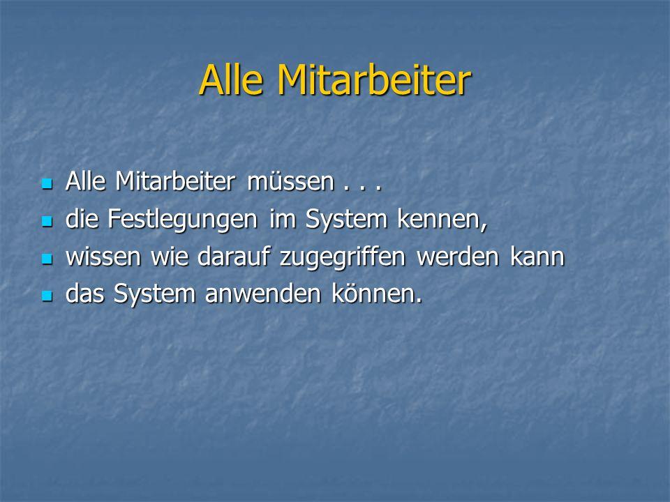 Alle Mitarbeiter Alle Mitarbeiter müssen... Alle Mitarbeiter müssen... die Festlegungen im System kennen, die Festlegungen im System kennen, wissen wi