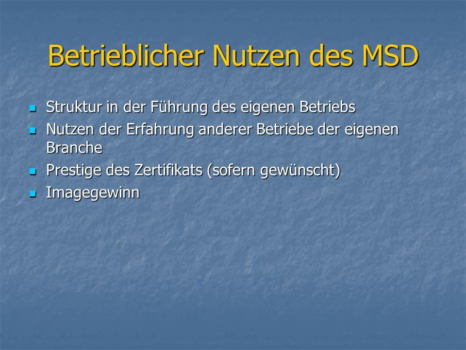 Betrieblicher Nutzen des MSD Struktur in der Führung des eigenen Betriebs Struktur in der Führung des eigenen Betriebs Nutzen der Erfahrung anderer Be