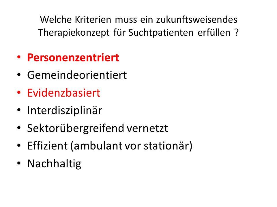 Welche Kriterien muss ein zukunftsweisendes Therapiekonzept für Suchtpatienten erfüllen ? Personenzentriert Gemeindeorientiert Evidenzbasiert Interdis
