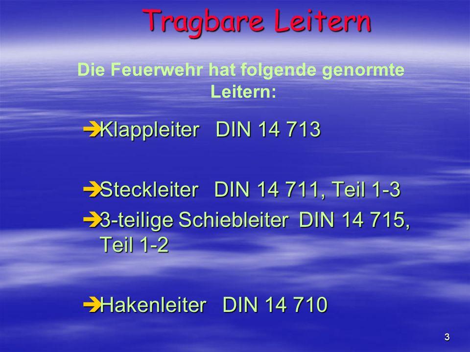 3 èKlappleiter DIN 14 713 èSteckleiter DIN 14 711, Teil 1-3 è3-teilige Schiebleiter DIN 14 715, Teil 1-2 èHakenleiter DIN 14 710 Tragbare Leitern Die