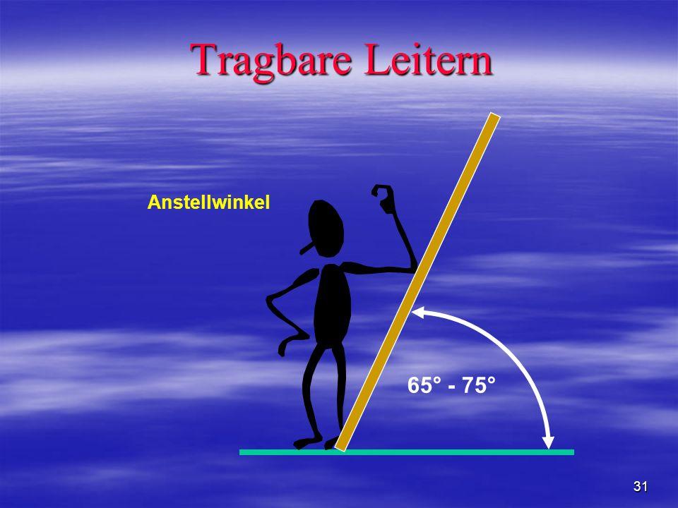 31 65° - 75° Anstellwinkel Tragbare Leitern