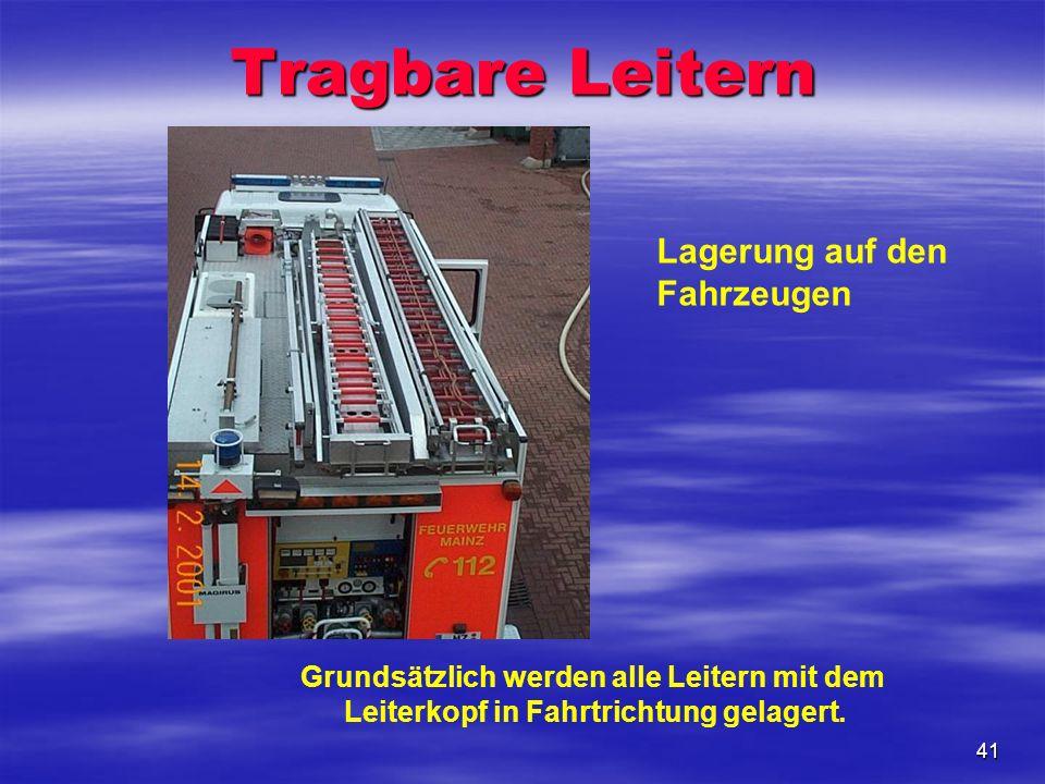 41 Tragbare Leitern Lagerung auf den Fahrzeugen Grundsätzlich werden alle Leitern mit dem Leiterkopf in Fahrtrichtung gelagert.