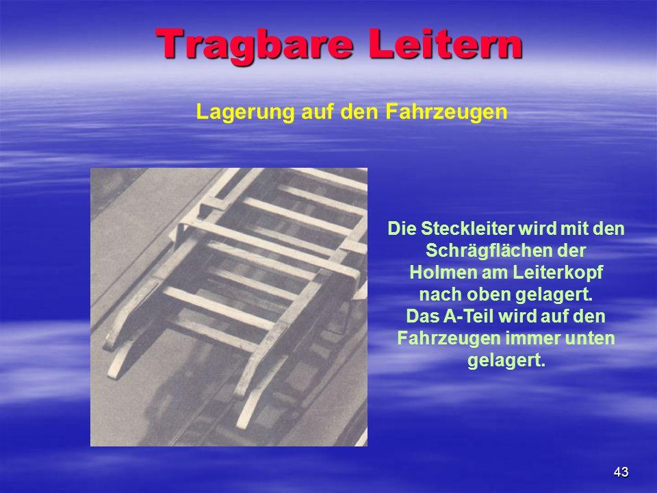 43 Lagerung auf den Fahrzeugen Die Steckleiter wird mit den Schrägflächen der Holmen am Leiterkopf nach oben gelagert. Das A-Teil wird auf den Fahrzeu