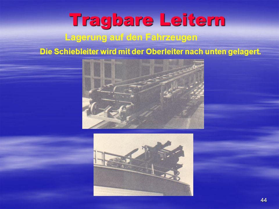 44 Lagerung auf den Fahrzeugen Die Schiebleiter wird mit der Oberleiter nach unten gelagert. Tragbare Leitern