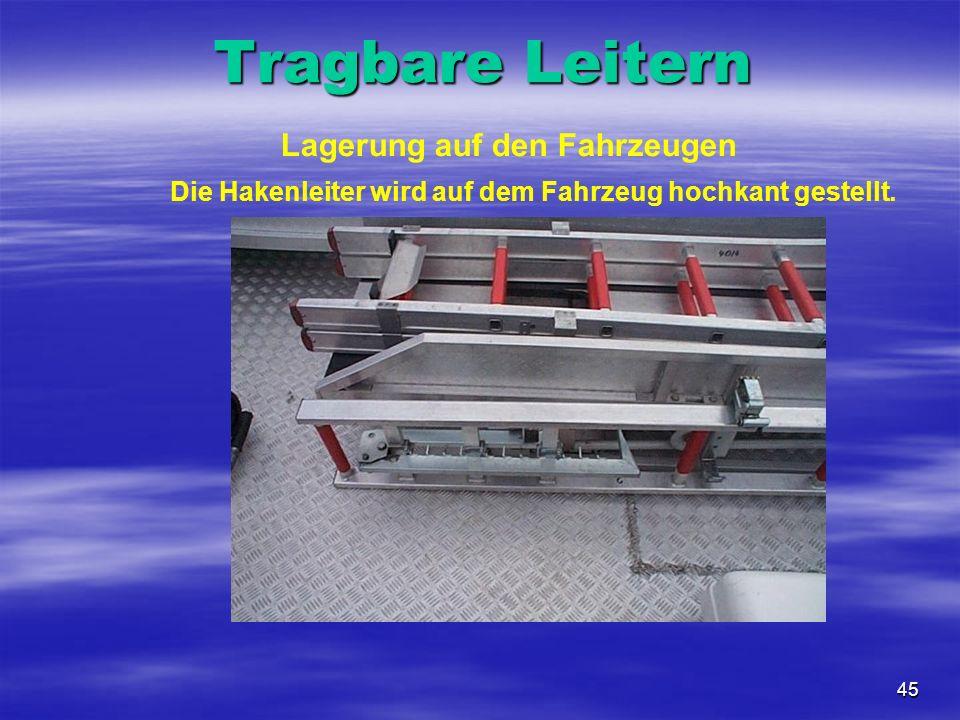 45 Lagerung auf den Fahrzeugen Die Hakenleiter wird auf dem Fahrzeug hochkant gestellt. Tragbare Leitern