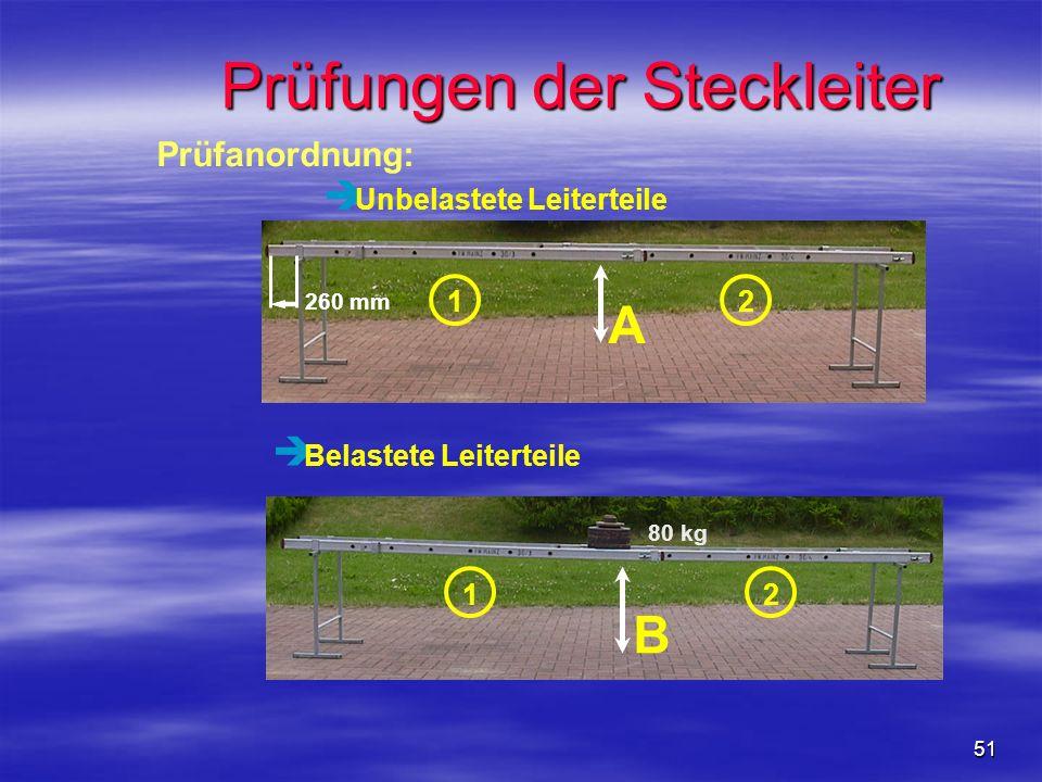 51 è Unbelastete Leiterteile è Belastete Leiterteile 12 80 kg B Prüfungen der Steckleiter A 260 mm 1 2 Prüfanordnung:
