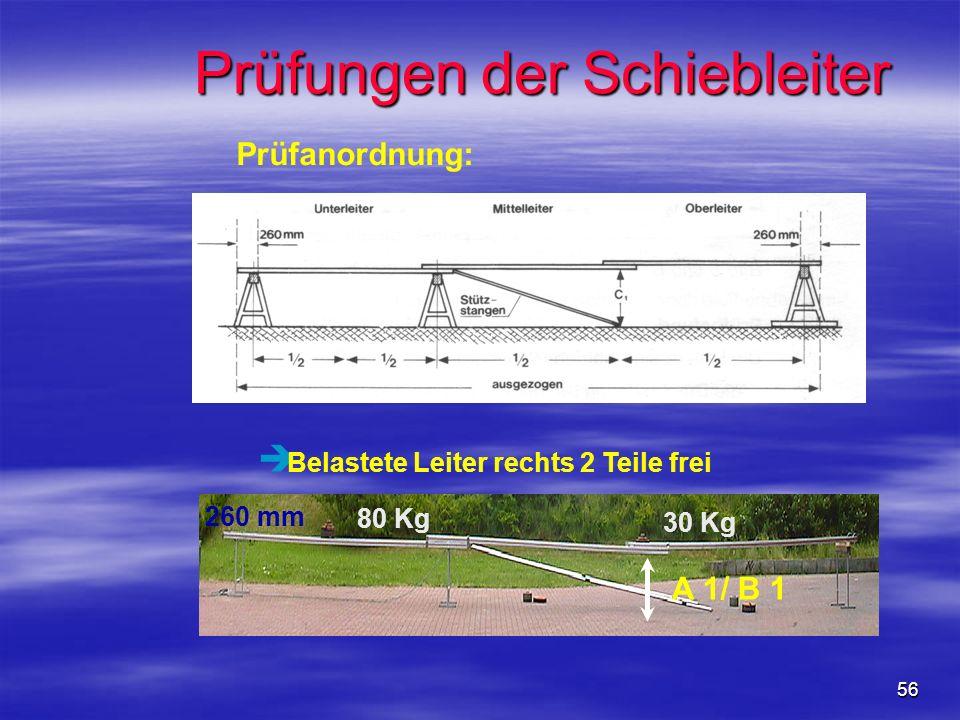 56 Prüfungen der Schiebleiter è Belastete Leiter rechts 2 Teile frei 80 Kg 30 Kg A 1/ B 1 260 mm Prüfanordnung: