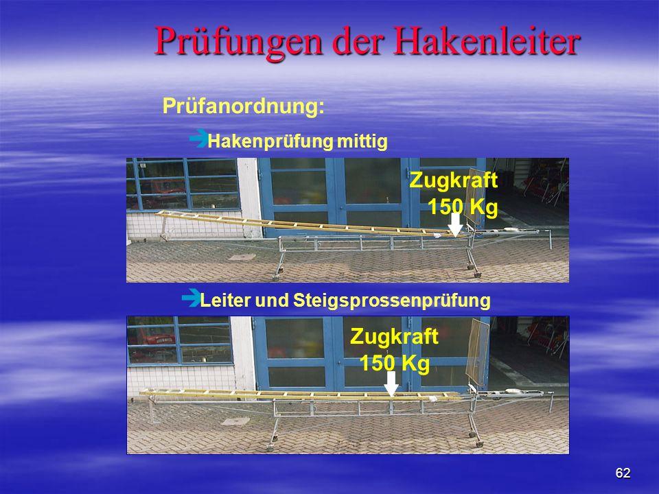 62 è Leiter und Steigsprossenprüfung Zugkraft 150 Kg è Hakenprüfung mittig Zugkraft 150 Kg Prüfungen der Hakenleiter Prüfanordnung: