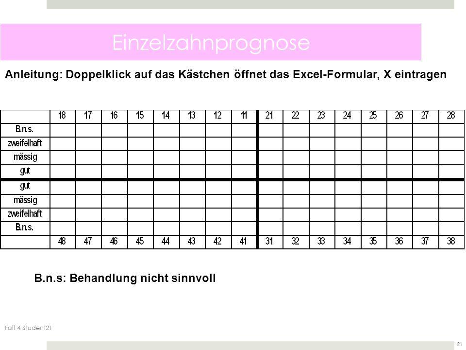 Fall 4 Student21 21 Einzelzahnprognose B.n.s: Behandlung nicht sinnvoll Anleitung: Doppelklick auf das Kästchen öffnet das Excel-Formular, X eintragen