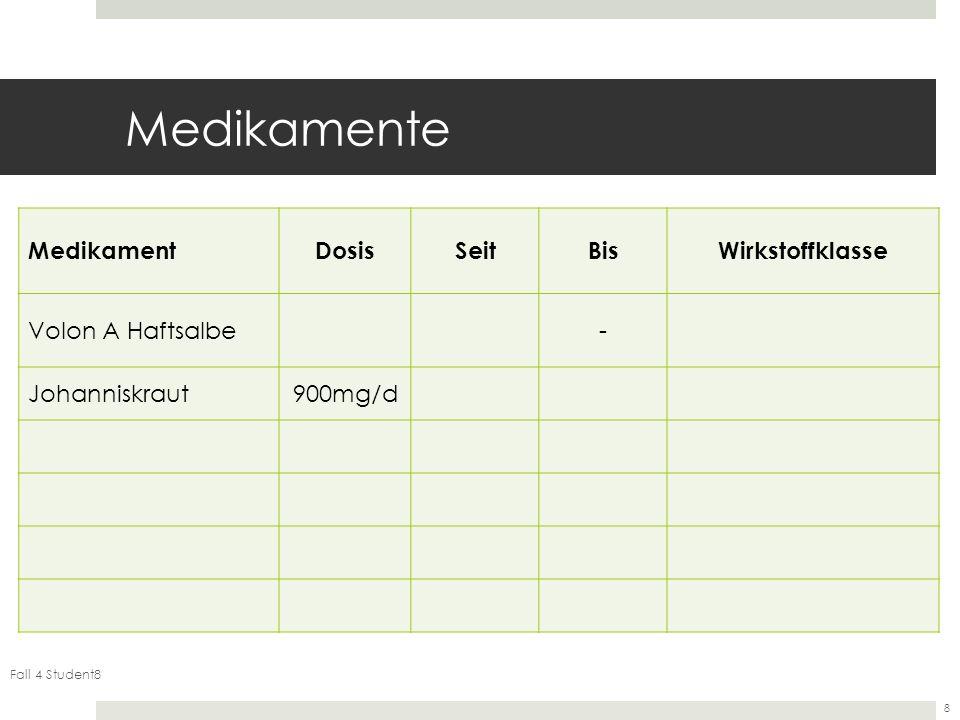 Fall 4 Student8 8 Medikamente MedikamentDosisSeitBisWirkstoffklasse Volon A Haftsalbe- Johanniskraut900mg/d