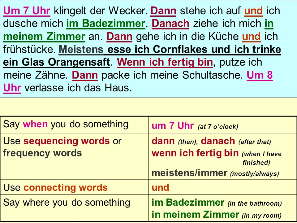 Say when you do something um 7 Uhr (at 7 oclock) Use sequencing words or frequency words dann (then), danach (after that) wenn ich fertig bin (when I