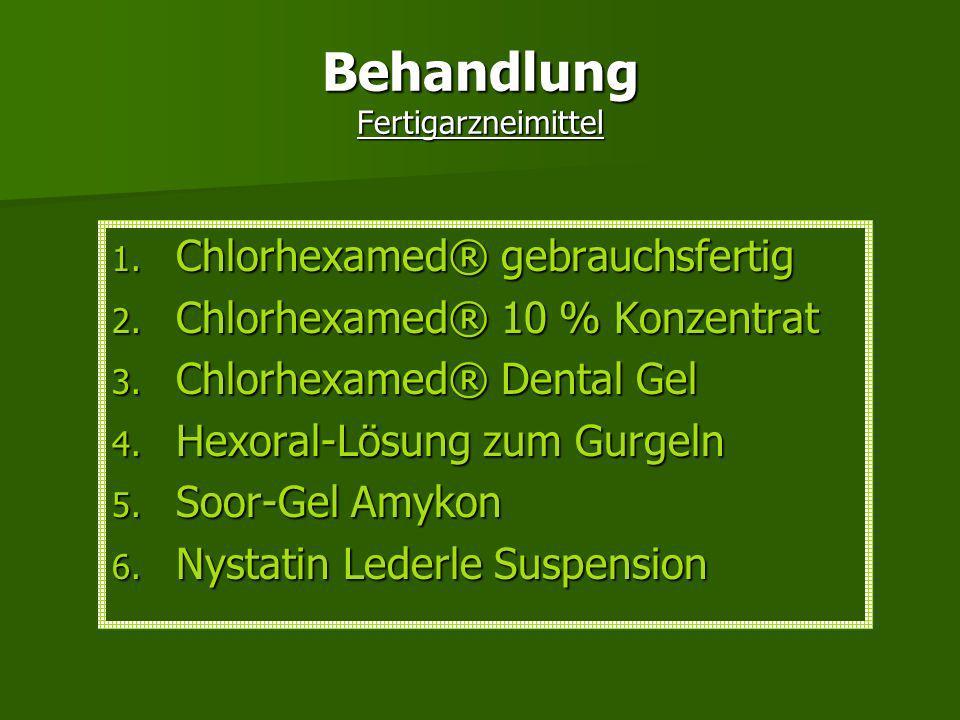 Therapie Ursache der Infektion finden Ursache der Infektion finden bei Zahnprotehesenträgern durch Verbesserung der Mundhygiene bei Zahnprotehesenträg