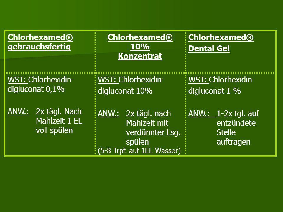 Chlorhexamed® Allgemein KI:bei Überempfindlichkeit gegen Inhaltsstoffe des Mittels NW:reversible Verfärbung an den Zähnen bei längerer Anwendung rever