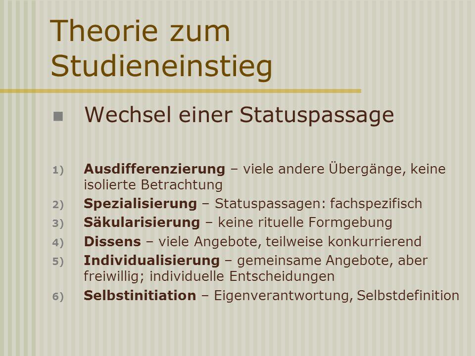Theorie zum Studieneinstieg Wechsel einer Statuspassage 1) Ausdifferenzierung – viele andere Übergänge, keine isolierte Betrachtung 2) Spezialisierung