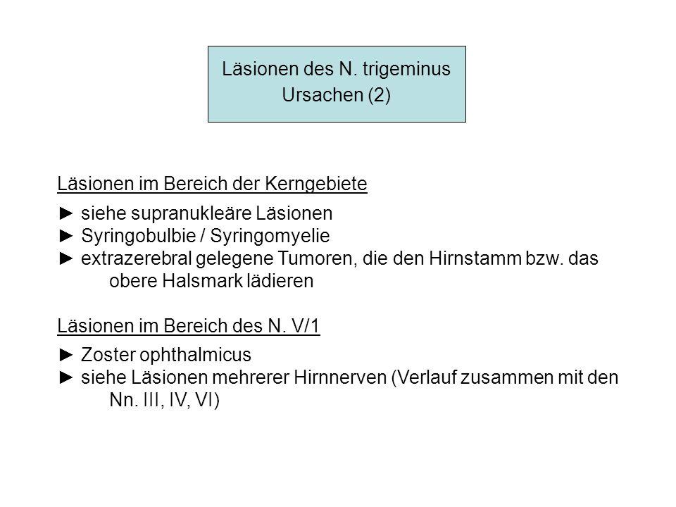 Läsionen des N. trigeminus Ursachen (2) Läsionen im Bereich der Kerngebiete siehe supranukleäre Läsionen Syringobulbie / Syringomyelie extrazerebral g