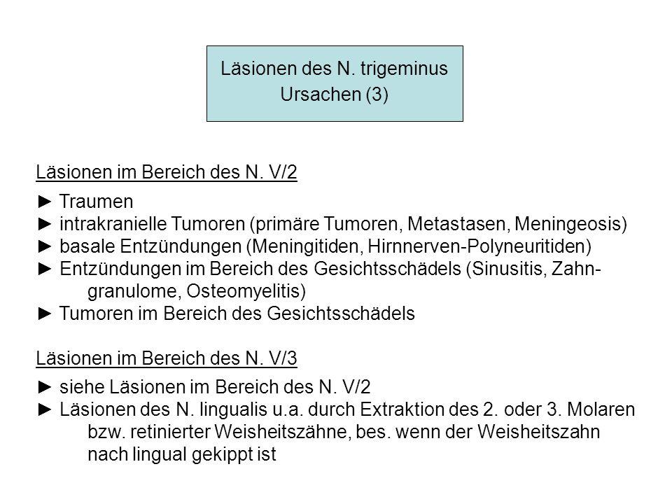 Läsionen des N. trigeminus Ursachen (3) Läsionen im Bereich des N. V/2 Traumen intrakranielle Tumoren (primäre Tumoren, Metastasen, Meningeosis) basal