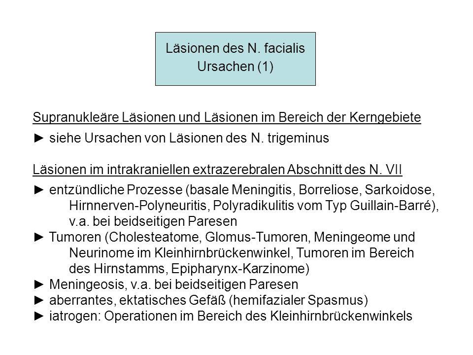 Läsionen des N. facialis Ursachen (1) Supranukleäre Läsionen und Läsionen im Bereich der Kerngebiete siehe Ursachen von Läsionen des N. trigeminus Läs
