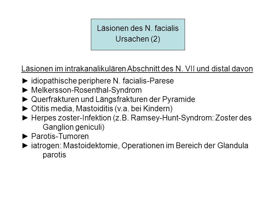 Läsionen des N. facialis Ursachen (2) Läsionen im intrakanalikulären Abschnitt des N. VII und distal davon idiopathische periphere N. facialis-Parese