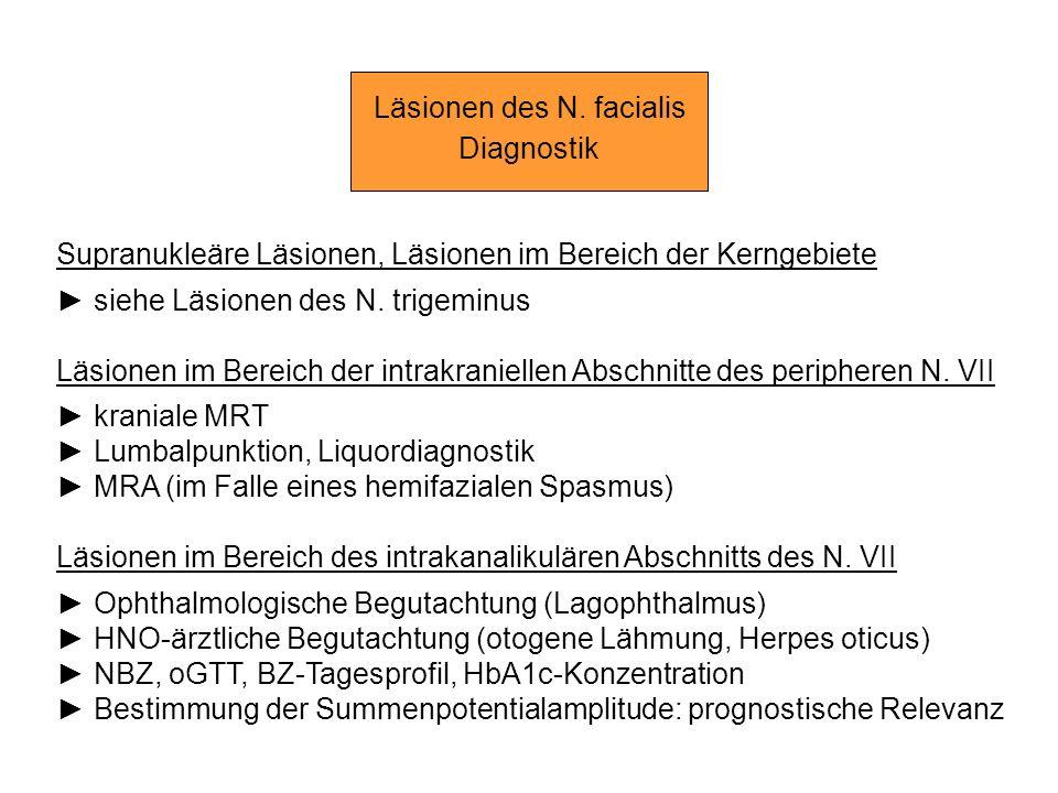 Läsionen des N. facialis Diagnostik Supranukleäre Läsionen, Läsionen im Bereich der Kerngebiete siehe Läsionen des N. trigeminus Läsionen im Bereich d