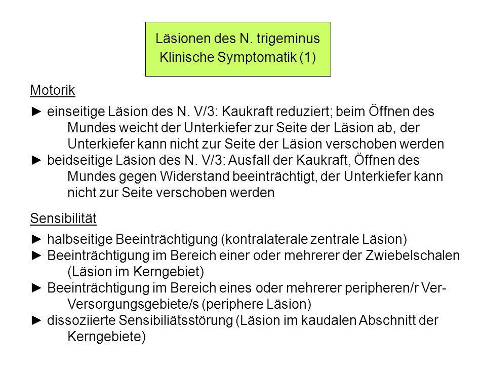 Läsionen des N. trigeminus Klinische Symptomatik (1) Motorik einseitige Läsion des N. V/3: Kaukraft reduziert; beim Öffnen des Mundes weicht der Unter