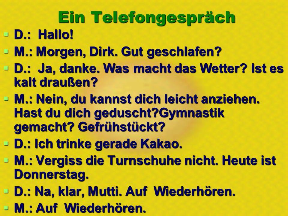 Еin Telefongespräch D.: Hallo! D.: Hallo! M.: Morgen, Dirk. Gut geschlafen? M.: Morgen, Dirk. Gut geschlafen? D.: Ja, danke. Was macht das Wetter? Ist