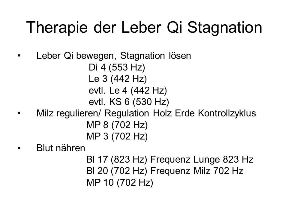 Therapie der Leber Qi Stagnation Leber Qi bewegen, Stagnation lösen Di 4 (553 Hz) Le 3 (442 Hz) evtl. Le 4 (442 Hz) evtl. KS 6 (530 Hz) Milz reguliere