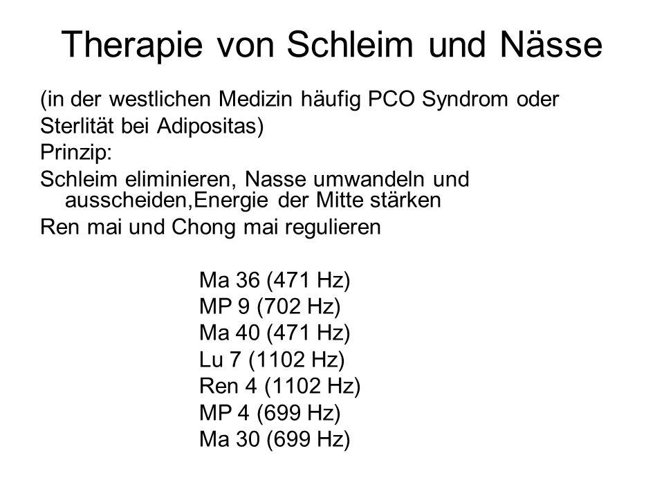 Therapie von Schleim und Nässe (in der westlichen Medizin häufig PCO Syndrom oder Sterlität bei Adipositas) Prinzip: Schleim eliminieren, Nasse umwand