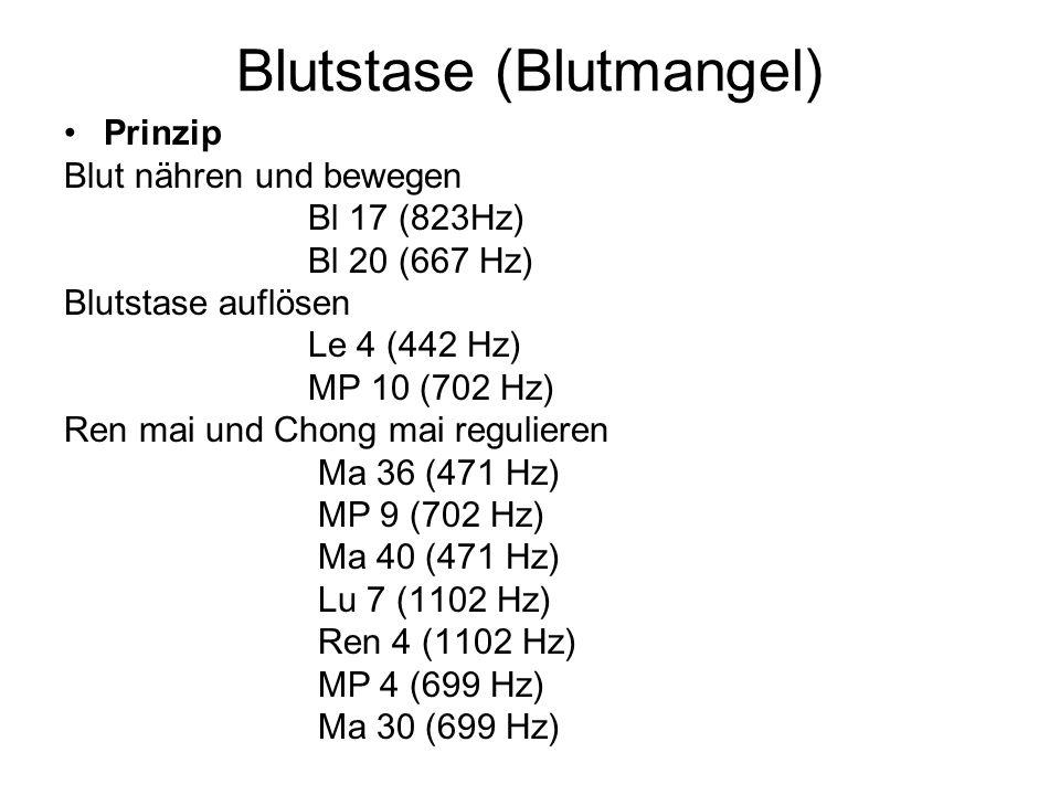 Blutstase (Blutmangel) Prinzip Blut nähren und bewegen Bl 17 (823Hz) Bl 20 (667 Hz) Blutstase auflösen Le 4 (442 Hz) MP 10 (702 Hz) Ren mai und Chong