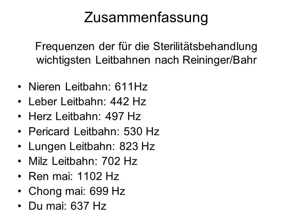 Zusammenfassung Frequenzen der für die Sterilitätsbehandlung wichtigsten Leitbahnen nach Reininger/Bahr Nieren Leitbahn: 611Hz Leber Leitbahn: 442 Hz