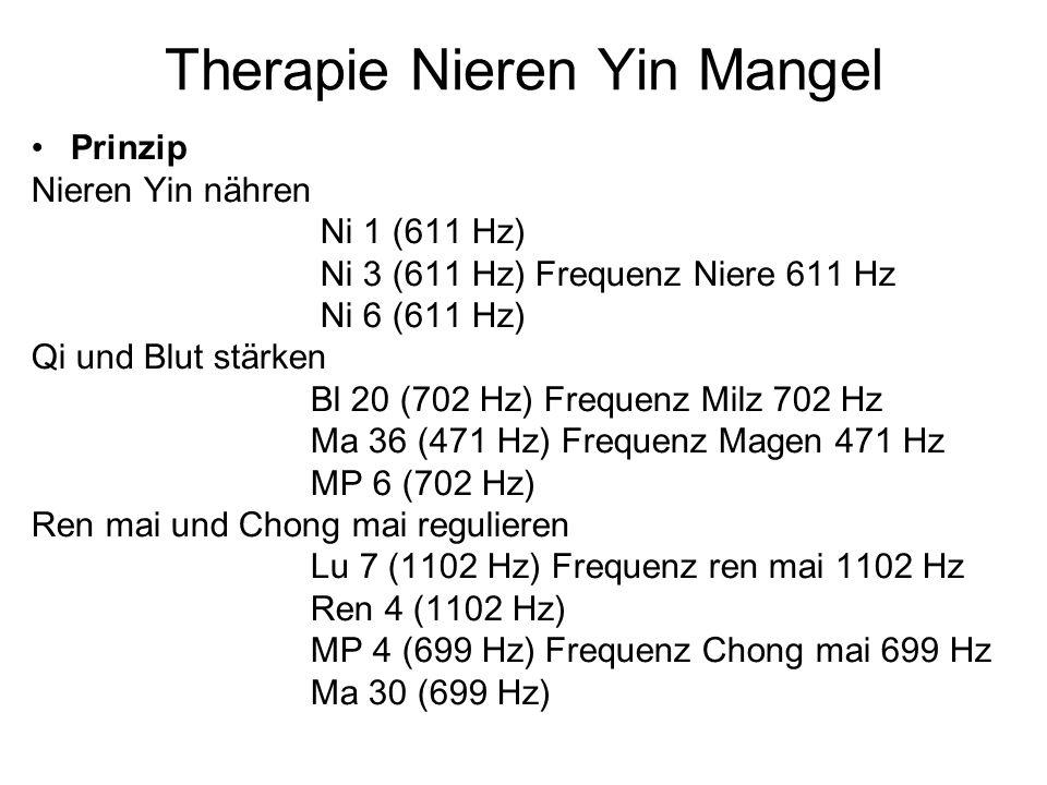Therapie Nieren Yin Mangel Prinzip Nieren Yin nähren Ni 1 (611 Hz) Ni 3 (611 Hz) Frequenz Niere 611 Hz Ni 6 (611 Hz) Qi und Blut stärken Bl 20 (702 Hz