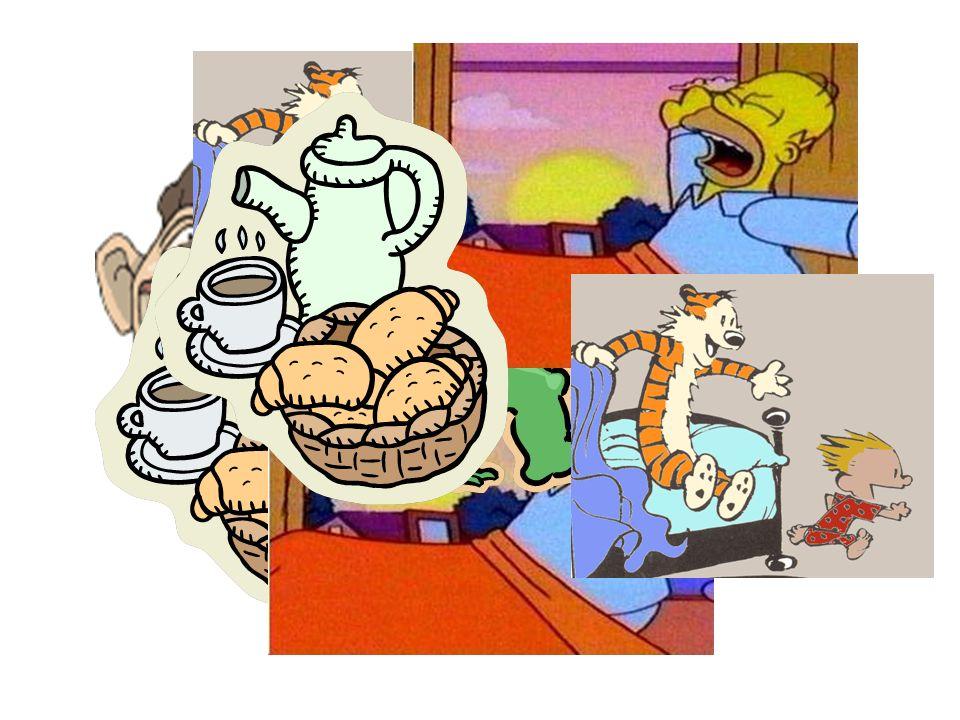 Ich wache … auf Ich stehe … auf Ich dusche Ich esse mein Frühstück
