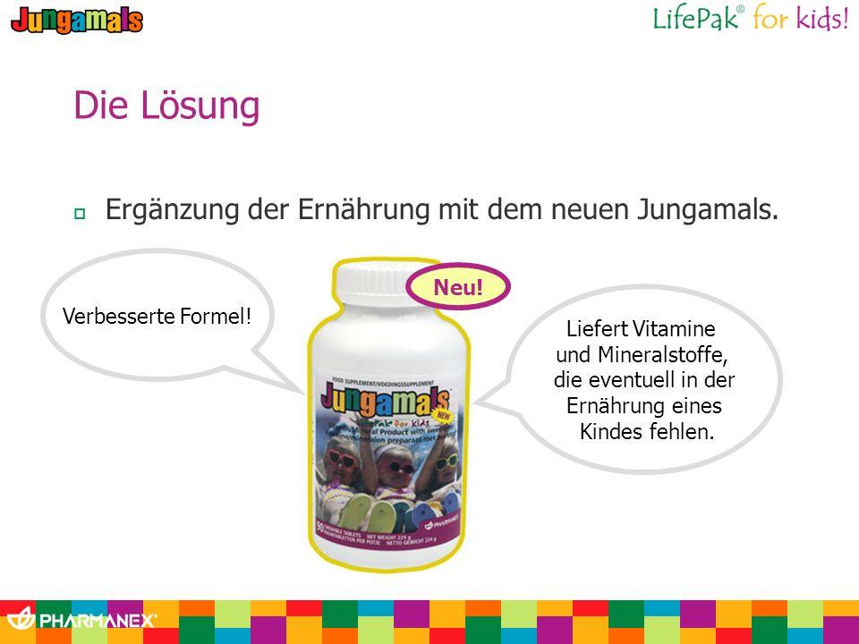 Die Lösung Ergänzung der Ernährung mit dem neuen Jungamals. Neu! Verbesserte Formel! Liefert Vitamine und Mineralstoffe, die eventuell in der Ernährun