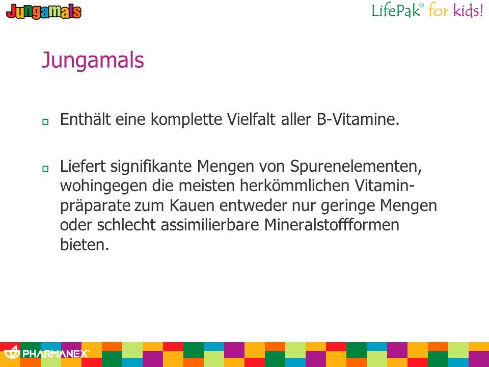 Jungamals Enthält eine komplette Vielfalt aller B-Vitamine. Liefert signifikante Mengen von Spurenelementen, wohingegen die meisten herkömmlichen Vita