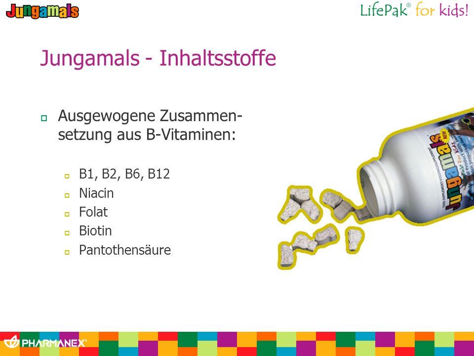 Jungamals - Inhaltsstoffe Ausgewogene Zusammen- setzung aus B-Vitaminen: B1, B2, B6, B12 Niacin Folat Biotin Pantothensäure