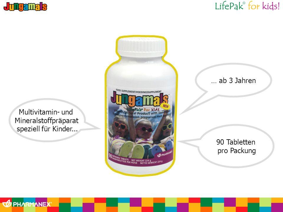 Multivitamin- und Mineralstoffpräparat speziell für Kinder... 90 Tabletten pro Packung … ab 3 Jahren