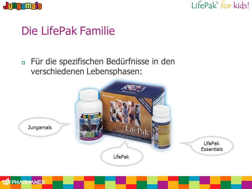 Die LifePak Familie Für die spezifischen Bedürfnisse in den verschiedenen Lebensphasen: LifePak Essentials LifePak Jungamals