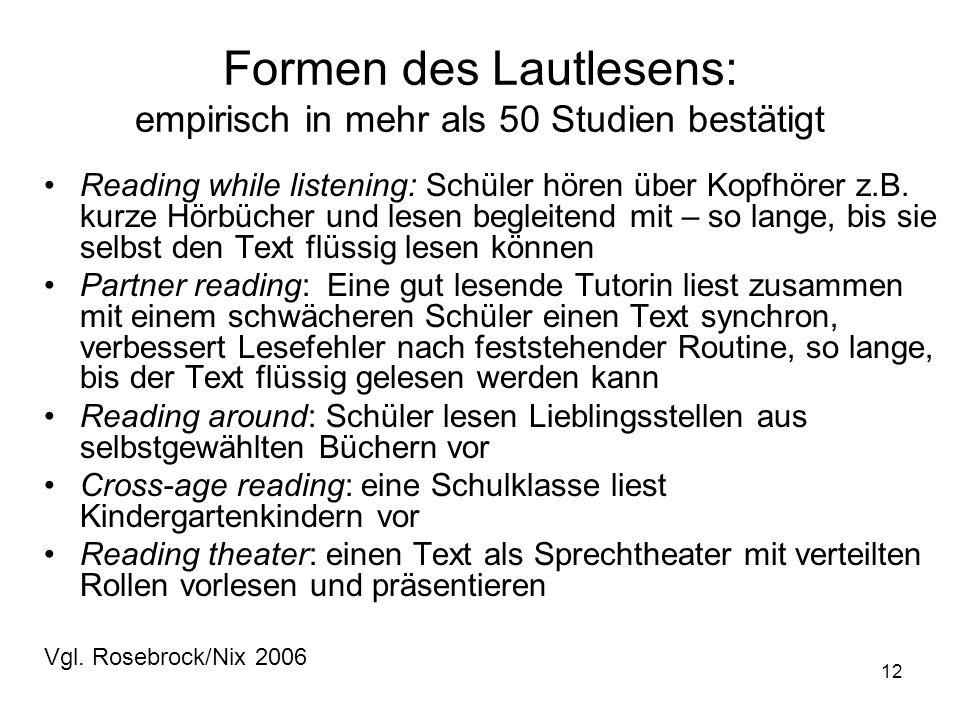 12 Formen des Lautlesens: empirisch in mehr als 50 Studien bestätigt Reading while listening: Schüler hören über Kopfhörer z.B.