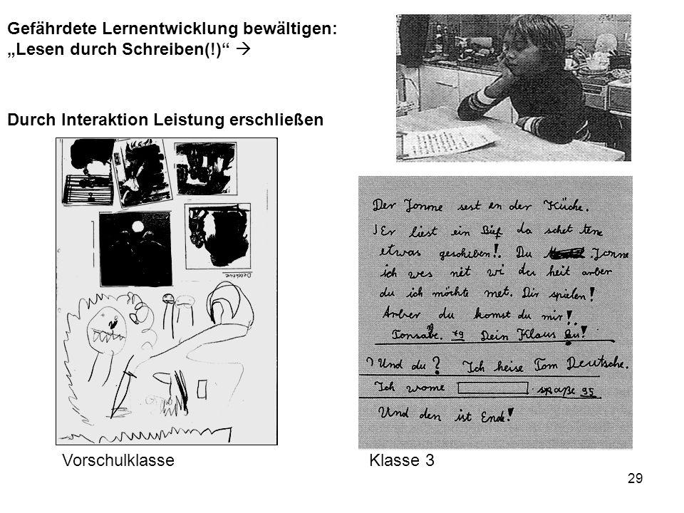 29 VorschulklasseKlasse 3 Gefährdete Lernentwicklung bewältigen: Lesen durch Schreiben(!) Durch Interaktion Leistung erschließen